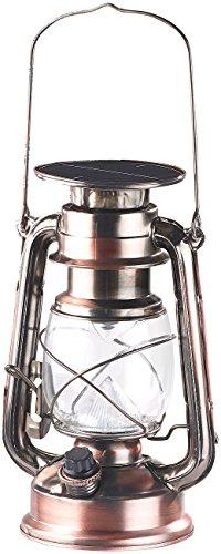 Lunartec LED Laterne: Dimmbare LED-Sturmlampe mit Akku & Solar, Bronze, 30 Lumen, 1,2 Watt (Lantern)