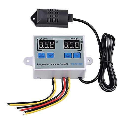 KKmoon Termostato Digital Controlador de humedad de temperatura digital dual Inicio Frigorífico Termostato Humidistato Termómetro Higrómetro XK-W1099 DC12V/24V/ AC 220V