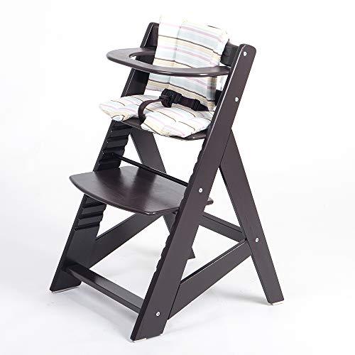 TIGGO Hochstuhl ab 6 Monaten bis 10 Jahre - Treppenhochstuhl mitwachsend - Kinderhochstuhl - Buchenholz massiv - Babyhochstuhl HC 25336-01 d´braun/creme