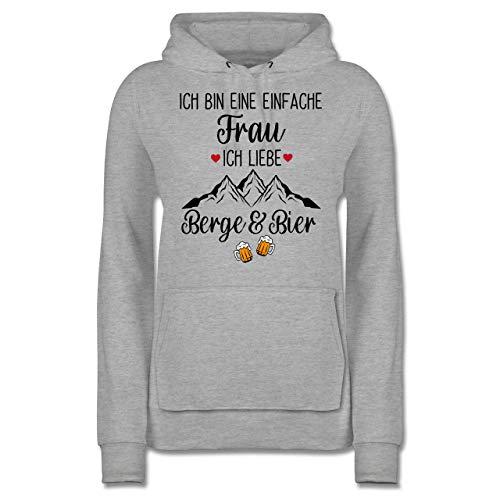 Après Ski - Ich Bin eine einfache Frau, Ich Liebe Berge und Bier schwarz - L - Grau meliert - Berge - JH001F - Damen Hoodie und Kapuzenpullover für Frauen
