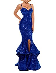 Royal Blue Sequin Prom Gown Mermaid Bodycon Dress