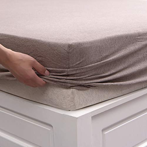 PURE ERA Jersey Knit Cotton Fitted Bottom Sheet ONLY (No Flat Sheet or Shams) - Deep Pockets, Ultra Soft, Comfy, Breathable, Brown Queen Size