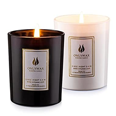 Scented Candles Lavender and Vanilla with Natural Essential Oils, 100% Eco-friendly Soy Wax Aromatherapy Candle, Romantic Wedding Creative Birthday Gift Fragrances Candle (2 pack)