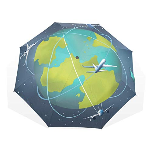 Trushop Paraguas Automático Earth Planet with Airplanes Around Windproof Travel Umbrella Compact Folding Umbrella