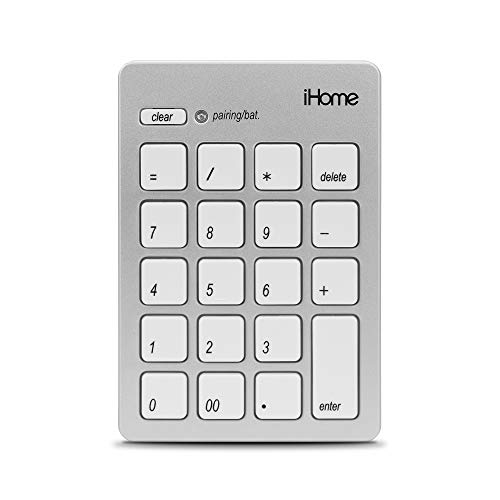 iHome Wireless Bluetooth 3.0 Slim Numeric Keypad for Mac, Wide 20-Keys, Laptops and Desktop Computers, Compact and Portable, Accounting/Coding – Silver