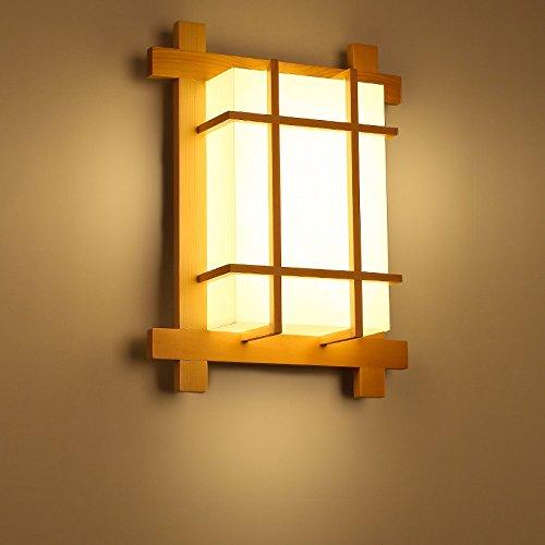 ZhuoYuan Feux de bois paille japonaise tatami applique murale lampe de chevet balcon allée Hyun LED appliques en bois petite lumière au plafond