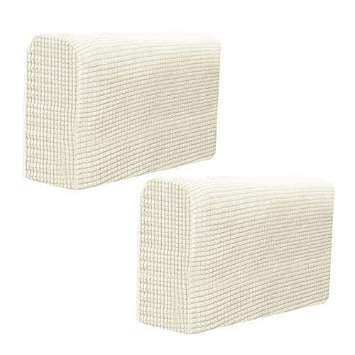2 fundas para reposabrazos de tela elástica de forro polar impermeable, antideslizantes, para sillones, sofás, reclinables, color blanco