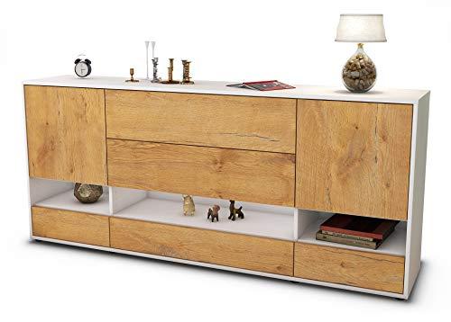 Stil.Zeit Sideboard Florentina/Korpus Weiss matt/Front Holz-Design Eiche (180x79x35cm) Push-to-Open Technik & Leichtlaufschienen
