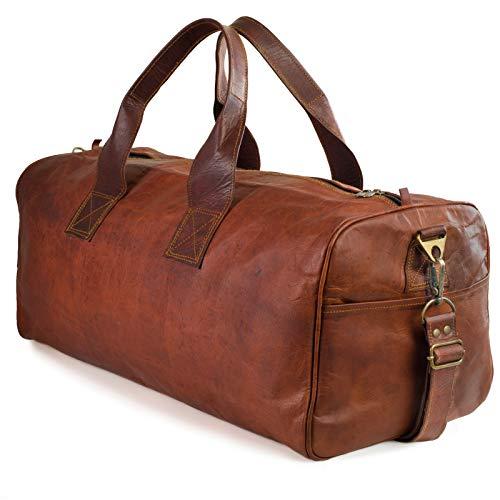 NAMA 'Columbus' Weekender XL Reisetasche 60 cm 45 Liter Echtes Leder Vintage Look Sporttasche für Damen und Herren Duffle Bag Umhängetasche Naturleder Braun