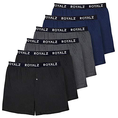 Royalz Boxershorts voor heren, pak van 6 stuks, American lichte onderbroeken, wijd hoog, klassiek, zacht, set van 6 stuks