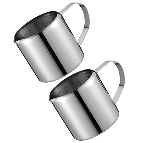 Angoily 2Pcs Milch Aufschäumen Krug Edelstahl Kaffee Dampfende Tasse Staub- Proof Mokka Sauce Krug für Espresso Maschine Milch Milchaufschäumer Latte Kaffee Kunst (30ML)