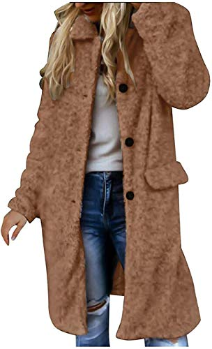 Womens Jacket Faux Fur Lapel Sherpa Outerwear Long Sleeve Plus Size Buttons Down Winter Coat with Pocket