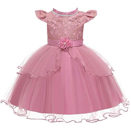 Realde--Baby Mädchen Mini Kurz Kleid Freizeit Einfarbig Spitze Mesht Prinzessin Kleid Blumendruck Abendkleid Sommerkleid Cocktailkleid Festlich Babybekleidung Partykleid