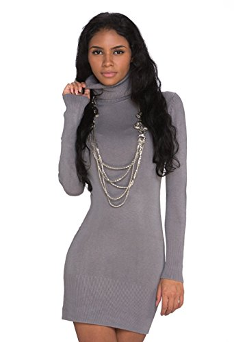 Fashion4Young 927 Damen Strick Minikleid Longpullover Pullover Long Rollkragen in 6 Farben 2 Größen (L/XL 38/40, Hellgrau)