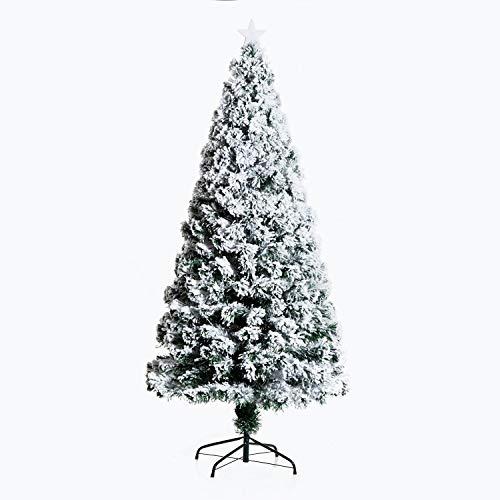 HOMCOM Árbol de Navidad 180cm Artificial Árbol Pino Natural de Blanco Nevado con Soporte de Metal Luces LED 230 Ramas