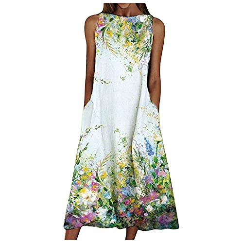 SHYQIN Summer Dresses for Women Sleeveless Sexy Floral Printing Round Neck Dress with Pocket White