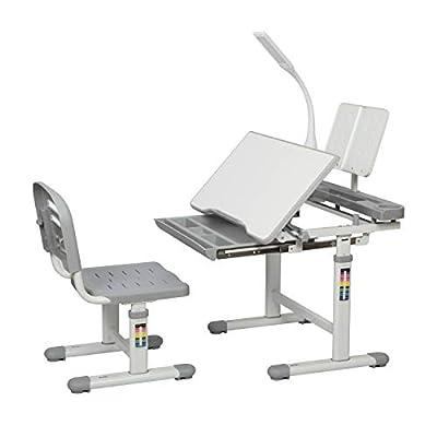 Diroan Kids Functional Desk and Chair Set, Height Adjustable Children School Study Desk with Tilt Desktop, Bookstand, LED Light, Metal Hook and Storage Drawer for Boys Girls (Gary)