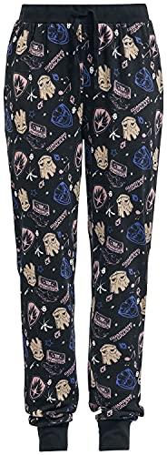 Guardianes De La Galaxia Groot - Symbols Mujer Pantalón de Pijama Negro XXL, 100% algodón,