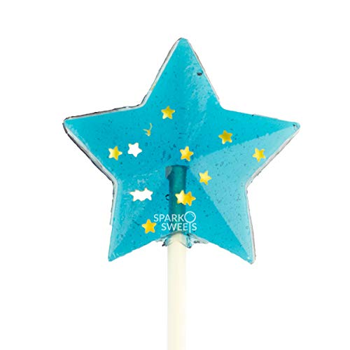 "Sparkly Navy Star Lollipops, Blue Raspberry Flavor, 2"" Lollipop, 24 Pieces, Handcrafted In USA"