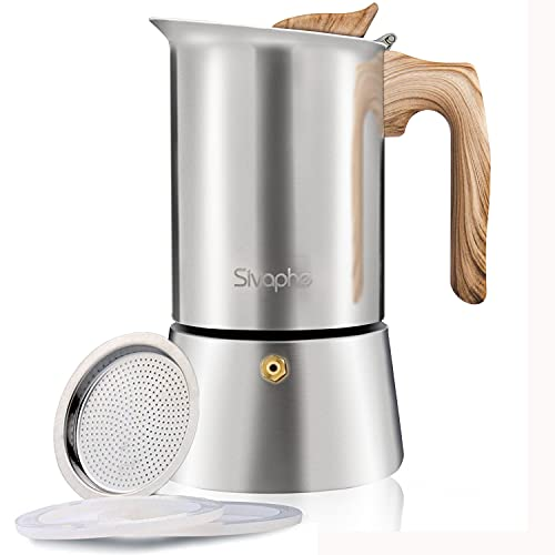 Sivaphe Moka Express Caffettiera, Caffettiera Espresso in Acciaio Inox 9 Tazze 450 ml Adatto stufe elettriche in Ceramica, fornelli a Gas, fornelli a induzione, fornelli a Gas