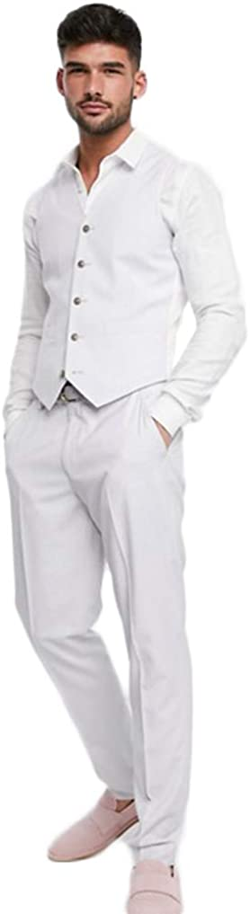 Fenghuavip Men's White 3 Pieces Suit Shirt Vest and Pencil Pant for Wedding