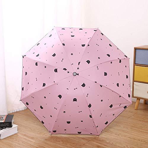 Taschenschirme Sonnenschirm Sonnenschirm Anti-Ultraviolett Männer Und Frauen Falten Sonnigen Regenschirm Dual-Use-Vinyl Sonnenschutz Regenschirm Regenschirm-Katzenpuder