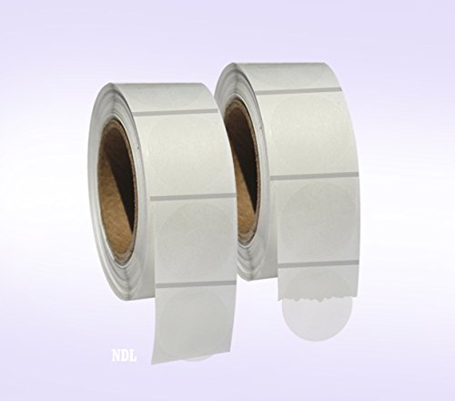 """2,000 Clear Retail Package Seals 1"""" Inch Round Circle Wafer Stickers/Labels 1,000 Per Roll - 2 Rolls per Pack - Total 2000 Labels per Pack"""