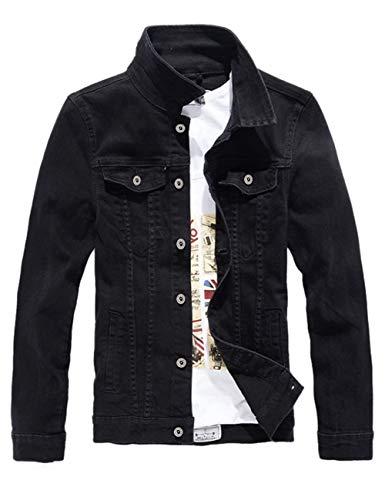 DSDZ Men`s Classic Slim Fit Motorcycle Denim Jacket Coat Black S(Asian L)