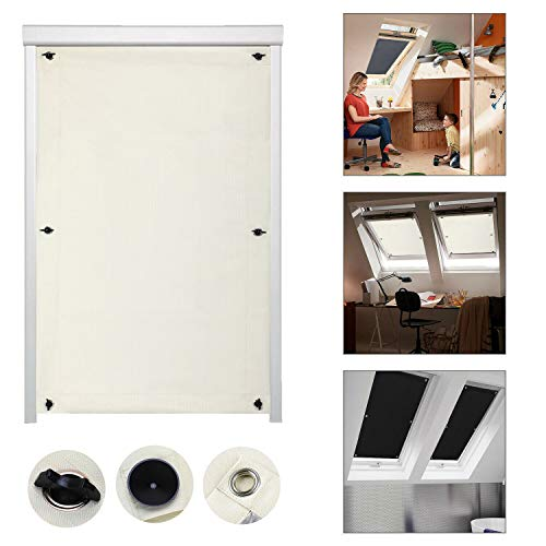iKINLO Thermo Sonnenschutz Dachfensterrollo für Velux Dachfenster Y87 und 087 ohne Bohren Verdunklungsrollo Rollo UV Schutz mit Saugnäpfe, Beige 96 x 120 cm