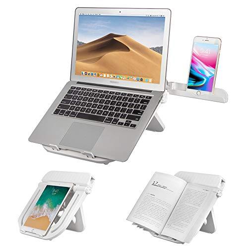 JIADUOBAO Soporte ajustable para ordenador portátil, ergonómico y plegable con soporte para teléfono incorporado, soporte para MacBook, ordenador de sobremesa, tableta, negro (color: blanco)