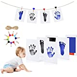 Baby Handabdruck und Fußabdruck Set, Stempelkissen, 4pcs Druckkarten, 10pcs Holzklammern und Seil, Babyhaut Kommt Nicht mit Farbe in Berührung, Ungiftig Inkless
