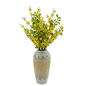 Spring Artificial Yellow Silk Jasmine Stems, Faux Forsythia Branches 3 PCS Artificial Orchids Flowers with Green Leaf for Table Centerpieces Indoor Outdoor Wedding Home Bedroom livingroom Decor