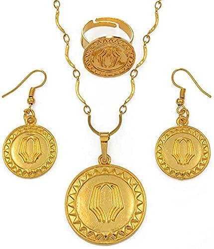 banbeitaotao Collar Color Oro Papua Guinea Collares Pendientes Pendientes yAnillo de tamaño Variable PNG Conjuntos de Joyas de Estilo Nacional