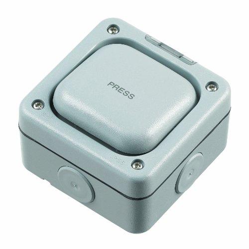 MK Masterseal Plus K56409GRY - Pulsante singolo bipolare a una via'Press', 20 amp