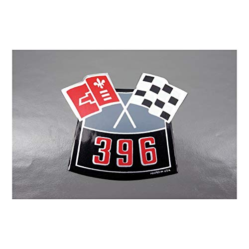 Eckler's Premier Quality Products 33181029 Camaro Air Cleaner Decal 396 Crossed Flags