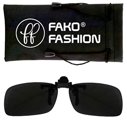 Fako Fashion® - Clip On Voorzet Zonnebril - Small - 125x33mm - Grijs