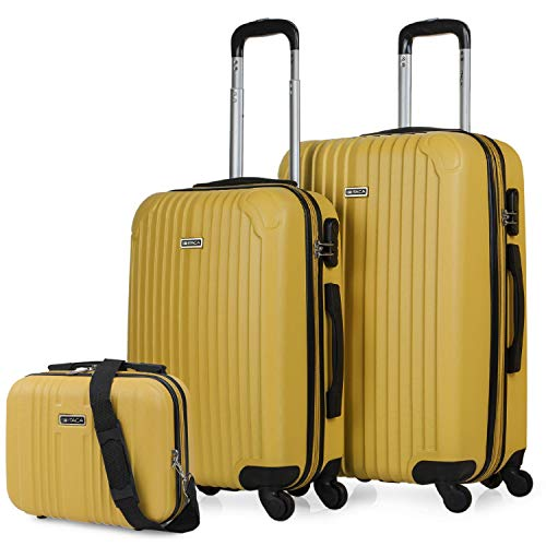 ITACA - Set 2 Suitcases and Beauty case 4 Wheels ABS. Rigid and Lightweight. Padlock. Extensible. Small and Medium T71515B, Color Mustard