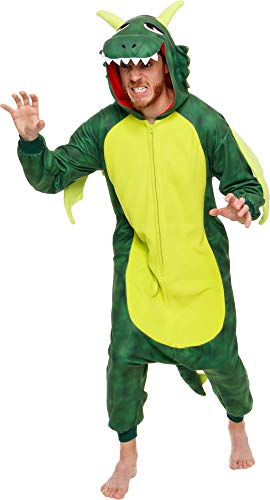 Silver Lilly Plush One Piece Dragon Costume - Unisex Adult Cosplay Animal Pajamas (Green, Large)