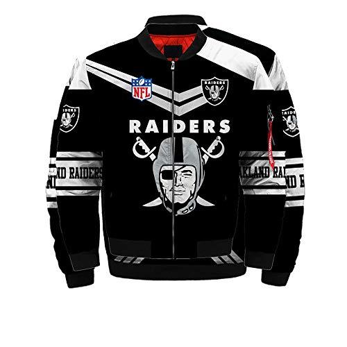 Herren Jacke Radtrikot - NFL Oakland Raiders Printed Oberbekleidung Zip Sweatshirt Baseball-Trikot Langarm-Flug-Klage - Teen Gift A-L