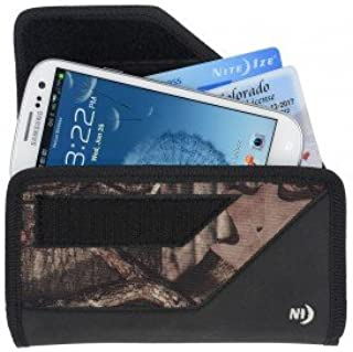 Nite Ize Black/Camouflage Mossy Oak Sideways Horizontal Rugged Heavy Duty X-large Holster Pouch W/Durable Fixed Belt Clip Fits Samsung Galaxy Grand Prime / G530 (Cricket)