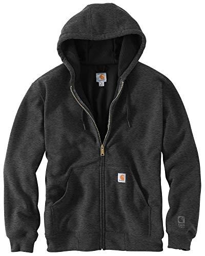 Carhartt Męska duża i wysoka Rutland bluza z kapturem z podszewką termiczną z zamkiem błyskawicznym z przodu, Carbon Heather/Black, L