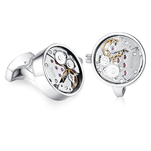 HONEY BEAR Manschettenknöpfe für Herren – Vintage Armbanduhr Bewegung Steampunk,MEHRWEG (Silber)