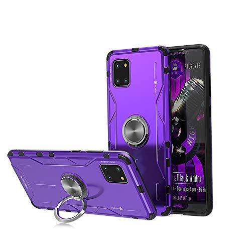 Jonwelsy Funda para Samsung Galaxy A81 / Note 10 Lite, Shockproof Flexible Silicona Carcasa + Aleación de Aluminio Cover con Rotación de 360 Grados Anillo iman Kickstand para Samsung A81 (Morado)