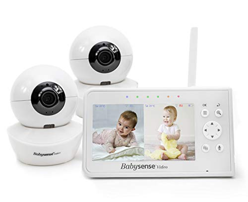 Babysense 4.3in Split Screen, Video Baby Monitor with Two Cameras and Audio