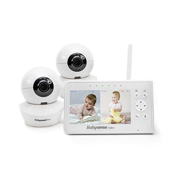 Babysense Video Baby Monitor with Camera Pan Zoom Tilt (PTZ) and 4.3 Inch Split Screen,...