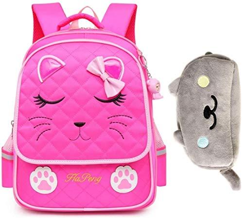 JSY Unisex School Backpack Cute Book Bag Children's Trolley Backpack Six-wheel Detachable For Primary School Students 3-5 Grades Large Capacity Waterproof Casual Daypacks (Color : Rose)