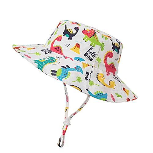 iSunday Sombrero de pescador Primavera y Verano Sol Flor Niños y Niñas Sombreros de Bebé Sombrilla Transpirable Niños Ajustable Ala Ancha Protección Sol Sombrero Estilo Un Color Dinosaurio