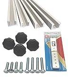 4pezzi da 1m di profili a C in alluminio + metro a nastro + manopole con dado di serra...