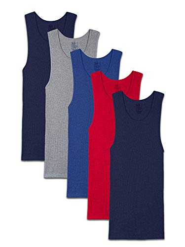 Fruit of the Loom Men's Tag-Free Tank A-Shirt, 5 Pack - Assorted Colors, Medium