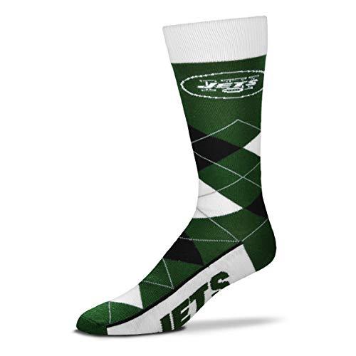 For Bare Feet - NFL Herren Argyle Lineup Dress Crew Socken (New York Jets, Large 10-13)